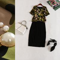 Free shipping! 2014 new summer Modal necklace stitching bat sleeve round neck Slim Dress B184337