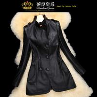 Queen 2014 spring genuine sheepskin leather clothing women's medium-long slim