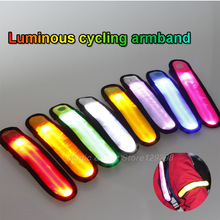 2pcs Luminous bycicle LED armband safety reflective cycling bike sport wrist band riding Outdoor Warn lamps(China (Mainland))