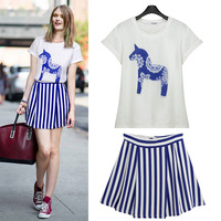 2014 summer casual set female short-sleeve T-shirt stripe bust twinset