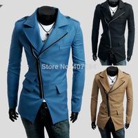 New arrivals men  overcoat autumn  pocket oblique zipper men slim casual trench coat  men outwear