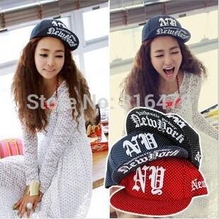2014 new fashion hip-hop cap dotted printed the new york caps flat baseball cap Free shipping(China (Mainland))