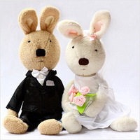 2014 New high quality rabbit wedding dress bunny stuffed plush toys  valentines gift 1 pair free shipping best selling