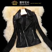Queen 2014 spring genuine leather sheepskin motorcycle clothing coat short design women's
