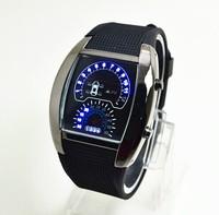 Hot sales 2014 atmos clock Binary LED watch men sports watches blue flash F1 car dial army watch digital watch waterproof 30M