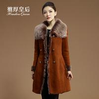 Queen 2014 fur one piece outerwear female sheepskin genuine leather clothing berber fleece long slim design