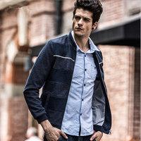 Wholesale Min 5pcs Fashion New autumn winter men's jacket,collar jacket ,gray black blue stripe coat,free shipping