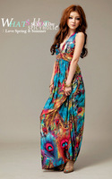 2014 Spring and Summer High waist Cotton Solid Strapless Long Women's Beach Bohemian Dress Free shipping