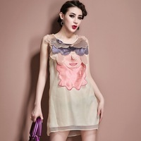 2014 one-piece dress embroidered tank dress loose sleeveless organza 825 one-piece dress