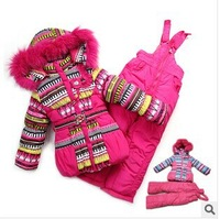 Детская зимняя одежда наборы девушка костюм спорта наборы верхняя одежда, теплые Пальто меховые куртки, штаны нагрудник + шерстяной жилет