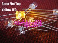 100pcs, 3mm Yellow Flat Top Water Clear LED Lamp Bright leds Light Free Resistors for 9V ~ 12V DC