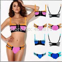 2014 new spell color bandage bikini swimsuit split steel prop gather women's swimwear factory wholesale Free Shipping