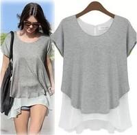Fashion summer faux two piece chiffon placketing short-sleeve T-shirt