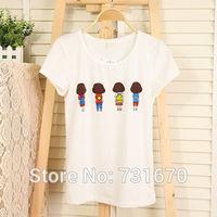 New in 2014 Summer Girl T-shirt Korea Style Simple Slim Ladies white short sleeved T-shirt wholesale Price TX002