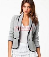 2014 New Fashion Spring Women Blazer Short Design Turn Down Collar Slim Blazer Grey Short Jacket Coat For Women