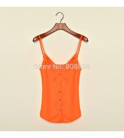 2014 summer European Leg Chiffon Halter Vest Harness New Sexy V-neck Chiffon Shirt