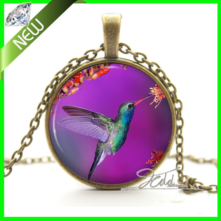 1Pcs Hummingbird Purple Pendant Necklace - Bronze And Silver Bird Jewelry Woodland Gift for Her Glass Cabochon Pendant Necklace(China (Mainland))