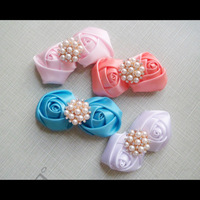 polyester ribbon rolled rosette flower 60pcs women's hair accessories 40mm fabric rosettes with pearl rhinestone