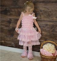 Hot Selling Flower Girls Dress Pink Chiffon Tiered And Lace Ruffle Petti Dresses Girl Party Dress Free Shipping
