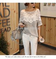 2014 Summer New Korean Sweet Lace Openwork Crochet Handmade Shawl Collar Short Sleeve T-shirt at