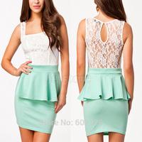 2014 New Fashion Lace Peplum Bodycon Sexy Dress High Street Office Lady Work Wear Pencil Dress Summer Casual Clubwear Dress 5454