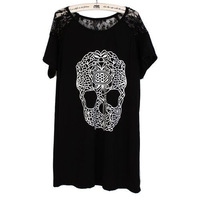 Womens Korean Style Casual Skull Lace Short Sleeve Loose T-Shirt Blouse Tops  77949-77957