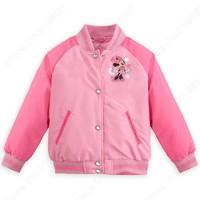 Retail New Minnie Varsity Jacket Girl Long Sleeve Coat Kids/Toddler Cute Cartoon Clothing Children Outerwear Autumn Winter