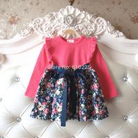 New 2014 Free Shipping Girls Dresses Long Sleeve Children Dress Flower Causal Dresses For Baby Girls A-line