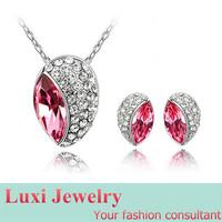 Leaf Luxury  Crystal Jewelry Set Necklace&Pendant Stud Earring   Set Fashion European Statement Jewelry 2014