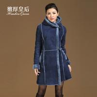 Queen 2014 fur one piece outerwear female long design with a hood slim fur berber fleece