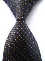 New Classic Plaid Black Orange White JACQUARD WOVEN 100% Silk Men's Tie Necktie A173