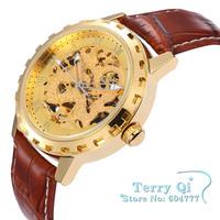 SHENHUA Classic Watch Man Gold Skeleton Watches Auto Mechanical Wristwatch Free Ship