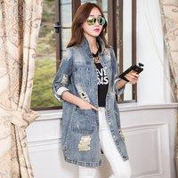 2014 new vintage loose medium-long water wash hole denim outerwear female jackets women down jeans jacket oversized denim jacket