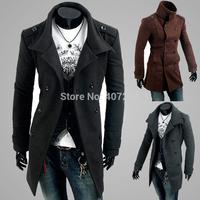 2013 epaulette double breasted wool male fashion men wool coat 2989