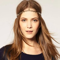 2 pieces/lot fashion coin headchain for women girls elastic alloy headpieces hair band vintage hair jewelry accessories