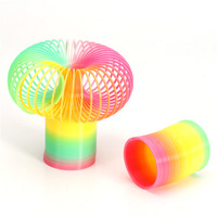 Free Shipping colorful Rainbow Plastic Slinky Toy Classic children's toys, glowing rainbow ring, spring toys, spring rings