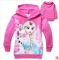 2014 New Autumn Frozen Elsa Sweater Girls Coats 100% Cotton Children Character Clothing With Hoodies 2-8 Years