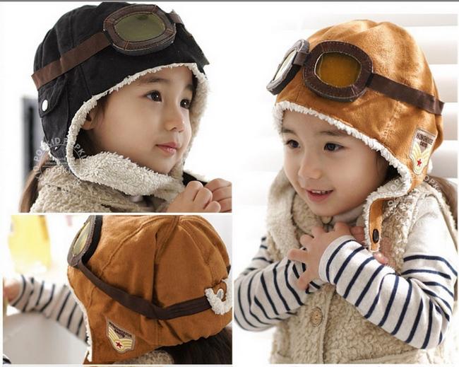 Baby Toddler Boy Girl Kids Pilot Aviator Cap Fleece Warm Hats Earflap Beanie Free&Drop Shipping BH200(China (Mainland))