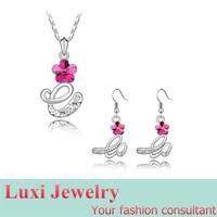 Letter E Luxury Crystal Jewelry Set Necklace&Pendant Drop Earrings  Set Fashion European Statement Jewelry 2014