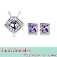 Square Luxury Crystal Jewelry Set Necklace&Pendant Stud Earrings  Set Fashion European Statement Jewelry 2014