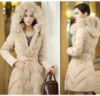 Winter coat women new 2014 fur collar long sections Slim Down padded female models casacos femininos down jacket vestidos coat