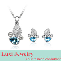 Luxury Crystal Jewelry Set Necklace&Pendant Stud Earrings  Set Fashion European Statement Jewelry 2014