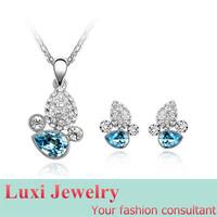 Luxury Crystal Jewelry Set Necklace&Pendant Stud Earrings  Set Fashion European Statement Jewelry 2014
