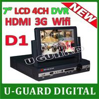 3G 7 inch Digital LCD DVR 4 channel stand alone cctv dvr NTSC PAL DVR Recorder 4CH DVR recorder video surveillance cctv system