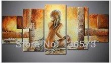 Handmade 5 painel de pintura moderna enorme hot naked girl corpo mulheres sexy nude pintura a óleo sobre tela home decor wall art no frame(China (Mainland))