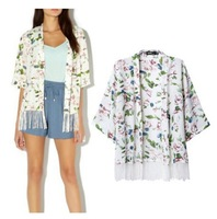 CS6025 new arrival cute floral print tassel jacket kimono half sleeve cardigan casual loose chiffon ladies jacket