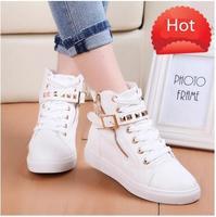 Spring 2014 new Womens casual black blue white boots zipper canvas sport buckle rivet Sneakers shoelace anti-slip shoes KR690