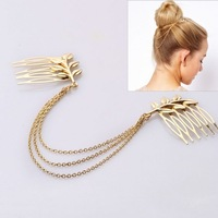 4 pieces/lot fashion gold head chain hair jewelry for women leaf wedding chain headpiece jewelry bride hair accessories