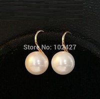 HOT Wholesale 2015 New Dangle Earring Girls Fashion OL Style Simple Pearl Earrings 18k Gold Plated Earrings for Women Free Ship