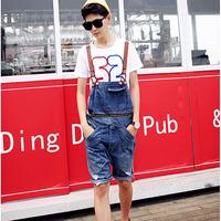 2014 summer men's fashion hole overalls Korean style pocket denim shorts Male jumpsuits Jeans Bib pants Free shipping